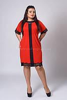 Красное платье с черным ажурным кружевом
