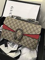 Женская сумочка GUCCI DIONYSUS BAG LUX красная вставка, фото 1