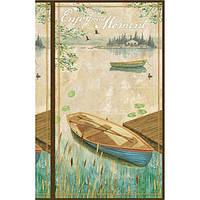 """Ткань-панель  для печворка и рукоделия """"Лодка"""""""