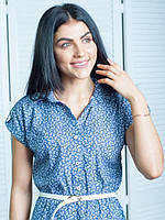 Женское летнее джинсовое платье с цветочками