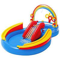 Игровой центр Радуга Intex 57453: 2 бассейна, горка, игрушки, 428 л, материал ПВХ, 297х193х135 см