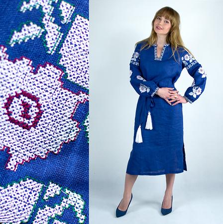 Льняное вышитое платье Цветы синего цвета, фото 2