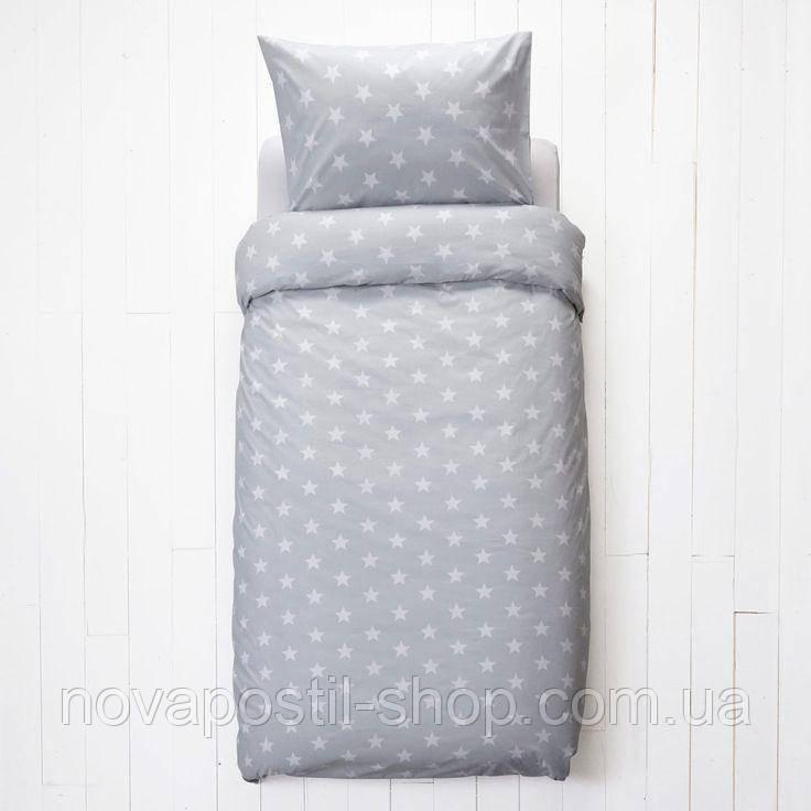 Детское постельное белье Звезды на сером (100% хлопок)