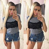 Женская модная футболка с кружевом,2 цвета