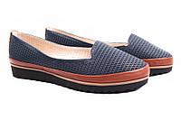 Туфли женские Mida нубук, цвет синий (платформа, перфорация, Украина)