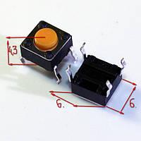 КНОПКА ТАКТОВАЯ DIP 6*6*4.3 6x6x4.3 мм