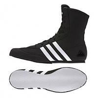 Боксерки Adidas Box Hog 2 (черные с белой подошвой)