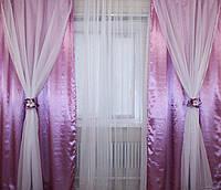 Комплект декоративных портьер атлас и шифон 011дш