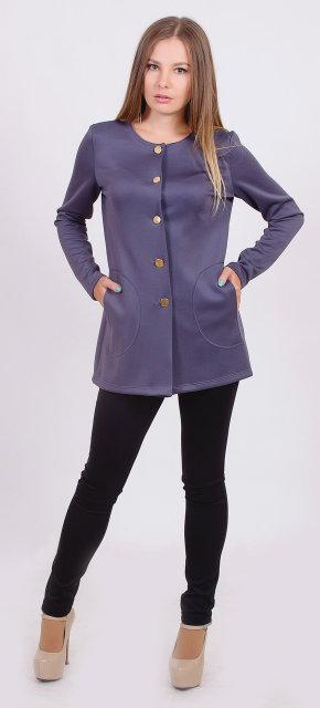 Пиджак женский удлиненный серый