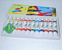 Краски акриловые для маникюра по 12 мл, 12 шт в наборе