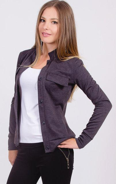 Пиджак женский короткий т.серый