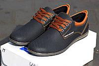 Мужские туфли Tommy Hilfiger из натуральной кожи, черные / туфли мужские Томи Хилфигер на шнуровке, стильные