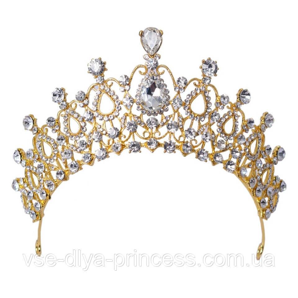 Корона для девочки под золото, высота 6,5 см.