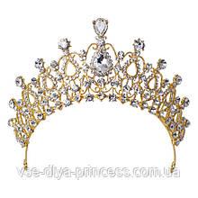 Корона под золото, высота 6,5 см. Бижутерия для фотосессии