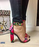 Босоножки женские на высоком каблуке Цветочный принт 37, 39, 40, 41