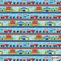 """Ткань для пэчворка и рукоделия американский хлопок """"Детская машинки бордюр синий"""" - 45*55 см"""