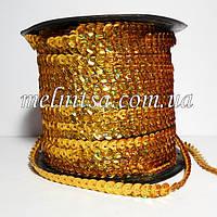 Пайетки на нитке, золото, 6 мм, голограмма