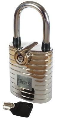 Замок навесной с сигнализацией №105 хром, помповый ключ.
