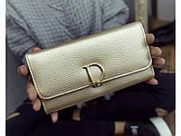 Практичный женский кошелек Dior Paris Gold. Отличное качество.  Вместительный кошелек. Купить. Код 20d51961388