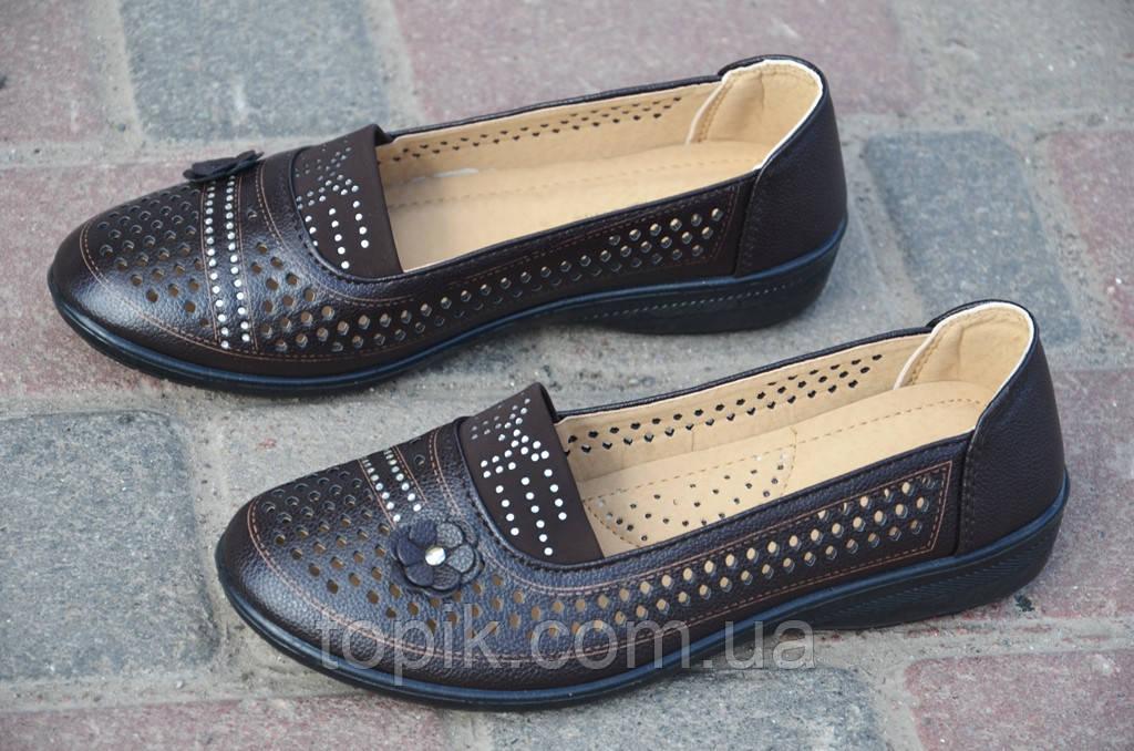 Мокасины, туфли женские летние темно коричневые легкие 2017