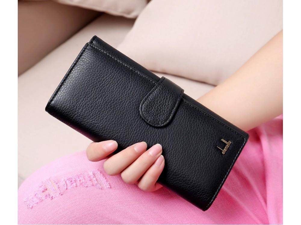 Солидный женский кошелек Henghuang Black. Отличное качество. Натуральная  кожа. Интернет магазин. Код  КДН1694 73e52e70427