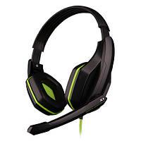 Стильная игровая гарнитура OVANN X1 зеленая проводная с микрофоном 3.5 jack стерео gaming для игр музыки