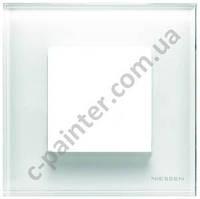 Рамка 1 пост 2 модуля ABB ZENIT Белое стекло N2271 CB