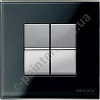 Рамка 1 пост 2 модуля Стекло графит  ABB ZENIT N2271 CF