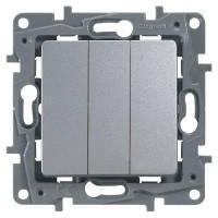 Выключатель/переключатель с подсветкой Etika трехклавишный  Алюминий 672413