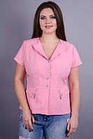 Виола. Стильный пиджак больших размеров. Розовый.