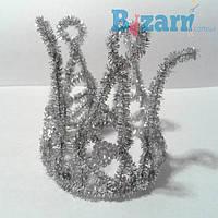 Корона из серебряного дождика и стразиками