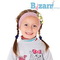 Повязка на голову детская (розовая с розочками)
