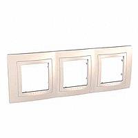 Рамка с декоративным элементом 3 поста Schneider  Electric MGU2.006.25 Бежевый