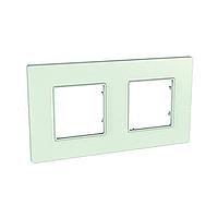 Рамка 2 поста Schneider Electric Unica quadro MGU2.704.17 Стекло