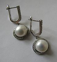 Серебряные серьги с натуральным жемчугом (9,5мм) и топазами