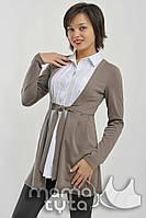 MamaTyta Рубашка-кардиган для беременных и кормящих MamaTyta Мария арт. 175.1 кофе с молоком