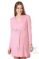 "Yammy Mammy Халат + ночная рубашка для беременных и кормящих Yammy Mammy арт. 118.02.1 розовый/белый ""зиг-заг"""