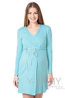 "Yammy Mammy Халат + ночная рубашка для беременных и кормящих Yammy Mammy арт. 118.02.2 бирюзовый/белый ""зиг-заг"""