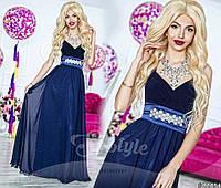 Нарядное женское платье в пол, материал микромасло и шифон, пояс украшен кмнями. Цвет темно синий