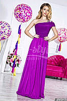 Нарядное женское платье в пол на одно плечо, материал шифон и атлас, украшено брошью. Цвет фиолетовый