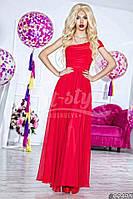 Нарядное женское платье в пол на одно плечо, материал шифон и атлас, украшено брошью. Цвет красный