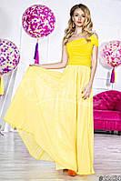 Нарядное женское платье в пол на одно плечо, материал шифон и атлас, украшено брошью. Цвет желтый