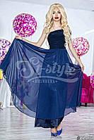 Нарядное женское платье в пол на одно плечо, материал шифон и атлас, украшено брошью. Цвет темно синий