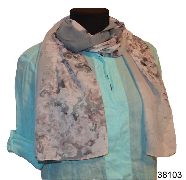 Женский серый модный шифоновый шарф Кармен 1
