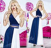 """Нарядное женское платье в пол """"Два цвета"""", материал шифон и атлас, пояс украшен камнями. Цвет синий с белым"""