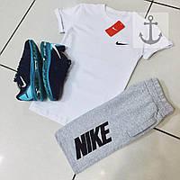 Шорты и футболка Nike, белая футболка и серые шорты, хлопок, S,M,L,XL