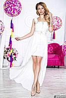 Нарядное женское длинное платье материал шифон и атлас с асимметричной длинной юбкой. Цвет белый