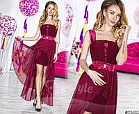 Нарядное женское длинное платье материал шифон и атлас с ассиметричной длинной юбкой. Цвет марсала