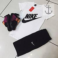 Шорты и футболка Nike, белая футболка и черные шорты, хлопок, S, M, L, XL