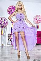 Нарядное женское длинное платье материал шифон и атлас с ассиметричной длинной юбкой. Цвет сиреневый